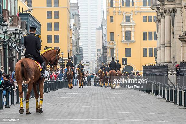 guards on horses at the presidential palace, lima peru - lima animal stock pictures, royalty-free photos & images