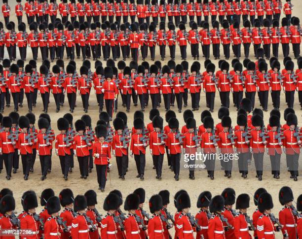guards on parade - bearskin hat stock pictures, royalty-free photos & images