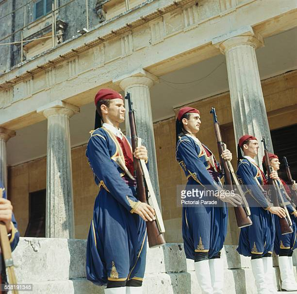 Guards outside the Palace of St Michael and St George in Corfu City Corfu Greece circa 1965