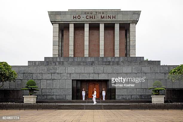 Guards post in front of the Ho Chi Minh Mausoleum in Hanoi on October 31 2016 in Hanoi Vietnam