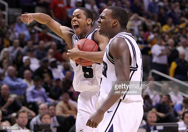 Guards Ronald Nored and Shelvin Mack of the Butler Bulldogs celebrate after defeating the Murray State Racers 5452 in the second round of the 2010...