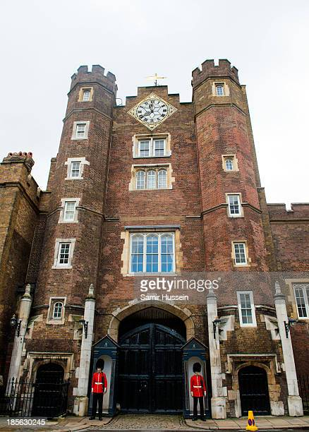 Guards stand outside an entrance to St James' Palace ahead of the christening of HRH Prince George of Cambridge on October 23 2013 in London England
