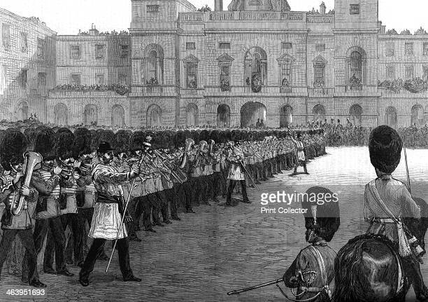 'Guards trooping the colours in St James's Park on Her Majesty's birthday' 1875 This was possibly in celebration of Queen Victoria's birthday which...