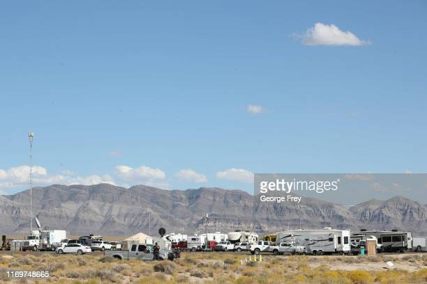 Guards watch over the Incident Command Center set up in the middle of the desert for the Storm Area 51 event this coming weekend, on September 19,...