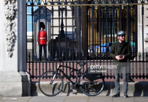 Guardsman is seen inside Buckingham Palace on April 26 2020 in LondonEngland The British government has extended the lockdown restrictions first...