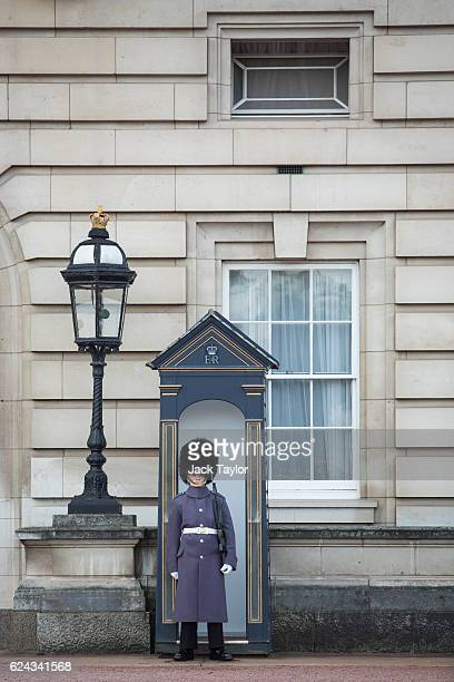 A guardsman stands by his sentry box at Buckingham Palace on November 19 2016 in London England The British Treasury has announced that Buckingham...