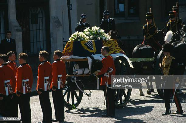 Guardsmen of the Prince of Wales Company of the Welsh Guards stand next to Diana's casket during the funeral of Diana Princess of Wales only seven...