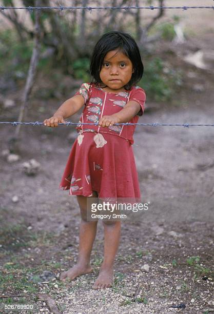 Guatamalan refugee girl living in a camp in southern Mexico after fleeing the military and right wing supression in their homeland