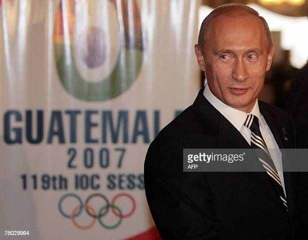 Russian President Vladimir Putin arrives to the presentation by Sochi at the beginning of the 119th International Olympic Committee Assembly on July...