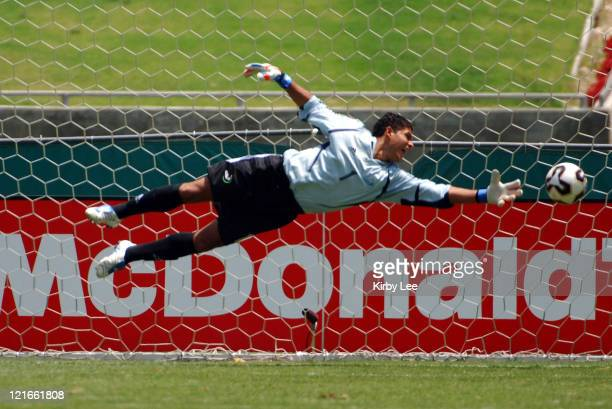 Guatemala goalie Miguel Angel Klee makes a diving save during 40 loss to Mexico in CONCACAF Gold Cup soccer match at the Los Angeles Memorial...