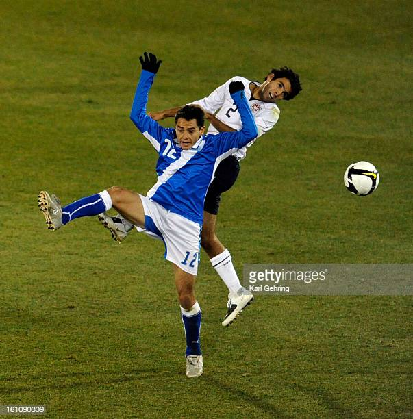 SP19SOCCER Guatemala midfielder Carlos Figueroa battled Americaqn defender Jonathan Bornstein in the first half Team USA took on the selection of...