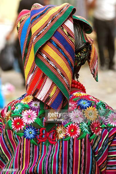 guatemala, zunil, wearing traditional clothing - guatemala stock-fotos und bilder