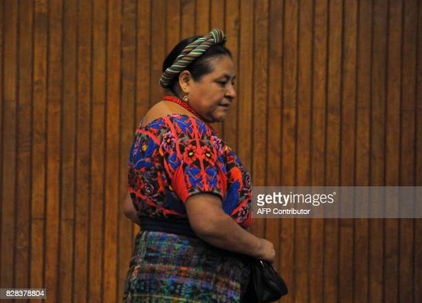 Guatemalan 1992 Nobel Peace Prize laureate Rigoberta Menchu Tum arrives to a press conference marking the International Day of the World's Indigenous...