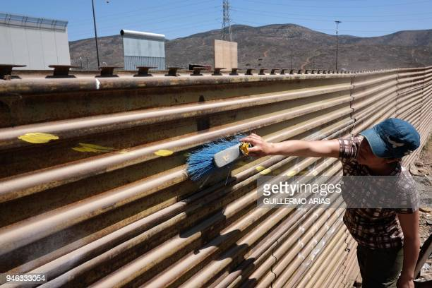 Guatemalan activist Flor Figueroa cleans the USMexico border wall before painting it as part of the Picnic prototype Security through Friendship...