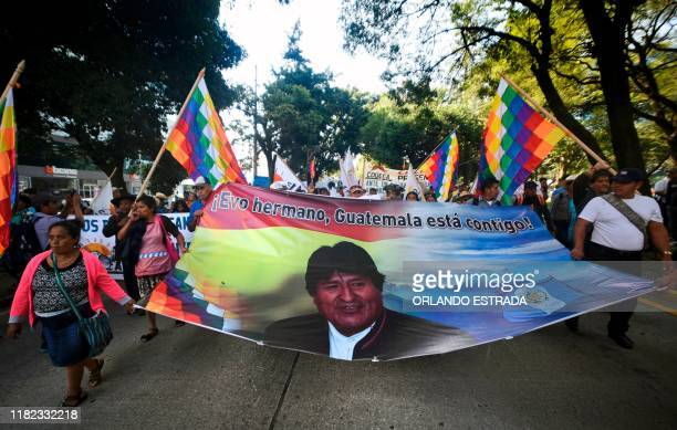 Guatemalan civilian and peasants organizations demonstrate in front of US Embassy in support of former Bolivian President Evo Morales in Guatemala...