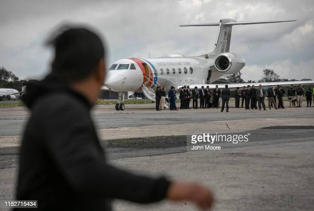 Guatemalan deportee arrives from a deportation flight from the U.S. As a nearby plane awaits the departure of acting U.S. Homeland Security Secretary...
