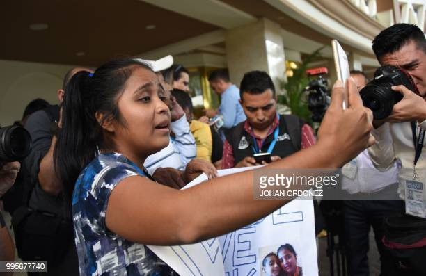 Guatemalan Elsa Ortiz who was deported from the US in June holds a videoconference with her son Antony Tovar Ortiz who remains in the United States...