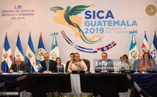 Guatemalan Foreign Minister Sandra Jovel and Secretary-General of the Central American Integration System and Vinicio Cerezo attend the LXXVIII...