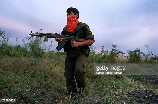 Guatemalan Guerrilla soldier patrols an area in Escuintla some 30 miles south west Guatemala City March 1996 Guatemalan President Alfonso Portillo...