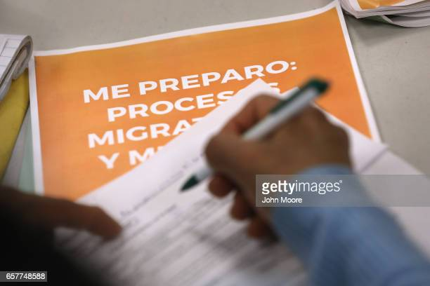 Guatemalan immigrant takes part in a workshop called Me Preparo at a community immigrant center on March 25 2017 in Stamford Connecticut The...