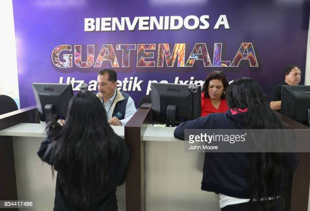 Guatemalan immigration officers process immigrants deported from the United States after they arrived on a ICE deportation flight on February 9 2017...