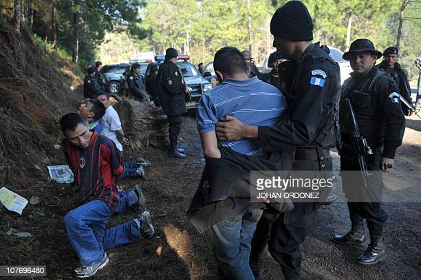 Guatemalan police take into custody four suspects allegedly belonging to los Zetas Mexican drug cartel arrested in Coban Alta Verapaz 220km north of...