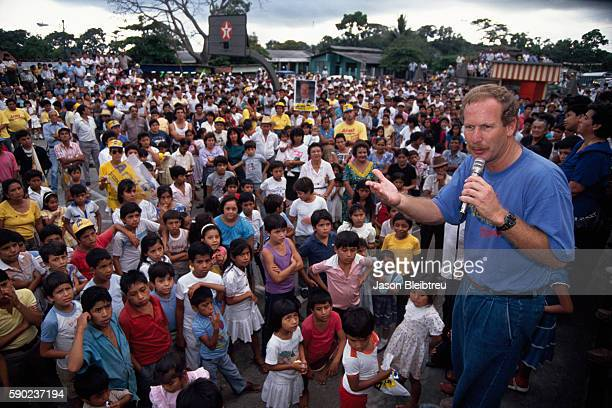 Guatemalan politician Alvaro Arzu and member of the National Advancement Pary speaks at a rally during his presidential campaign. | Location:...