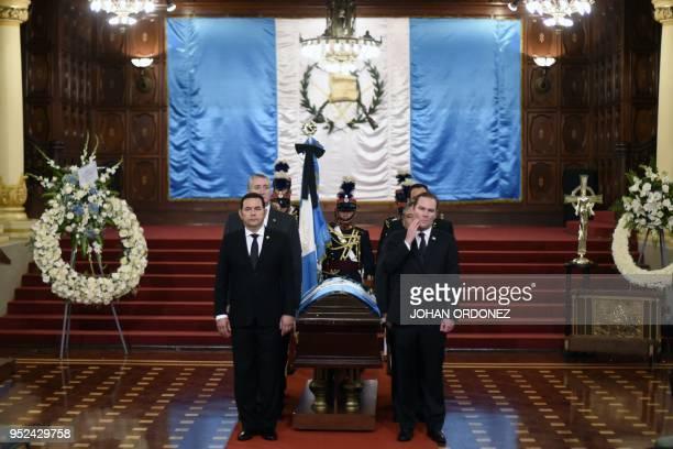 Guatemalan President Jimmy Morales and Alvaro Arzu Escobar, President of the National Congress and son of former Guatemalan President and Guatemala...