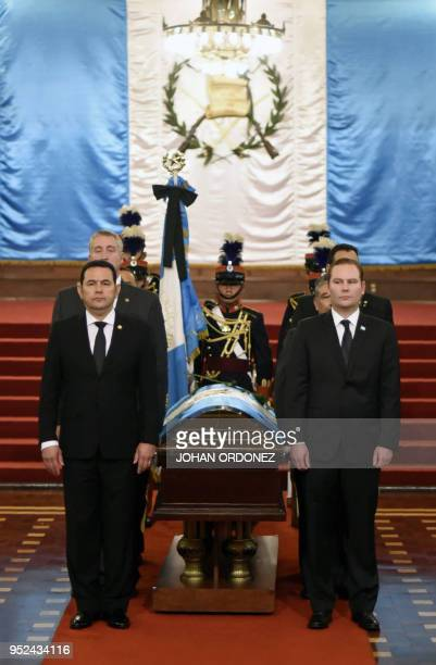 Guatemalan President Jimmy Morales and Alvaro Arzu Escobar President of the National Congress and son of former Guatemalan President and Guatemala...