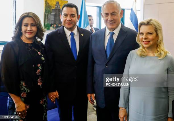 Guatemalan President Jimmy Morales and his wife Hilda Patricia Marroquin pose for a group photo with Israeli Prime Minister Benjamin Netanyahu and...