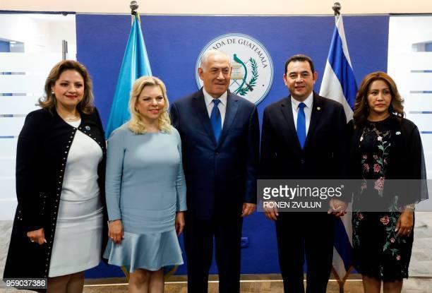 Guatemalan President Jimmy Morales his wife Hilda Patricia Marroquin Israeli Prime Minister Benjamin Netanyahu and his wife and Sara and Guatemalan...