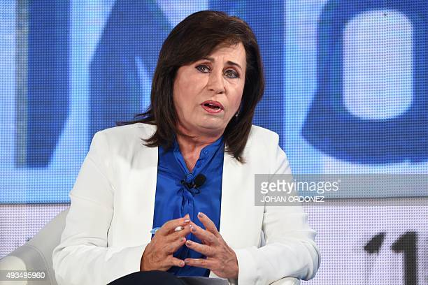 Guatemalan presidential candidate for the National Union of Hope party Sandra Torres takes part a presidential debate in Guatemala City on October...