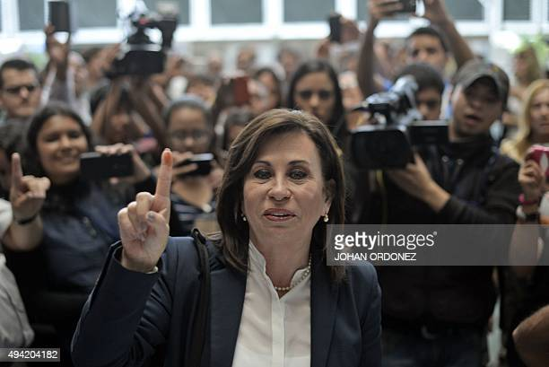 Guatemalan presidential candidate for the National Union of Hope party Sandra Torres casts her vote at a polling station in Guatemala City during...