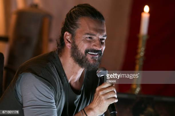 Guatemalan singer Ricardo Arjona speaks during a press conference to present his new album 'Circo Soledad' on April 20 2017 in Mexico City Mexico