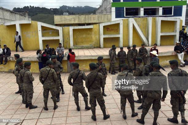 Guatemalan soldiers gather in Tacana central park after the earthquake which mainly hit Mexico in Tacana municipality San Marcos departament...