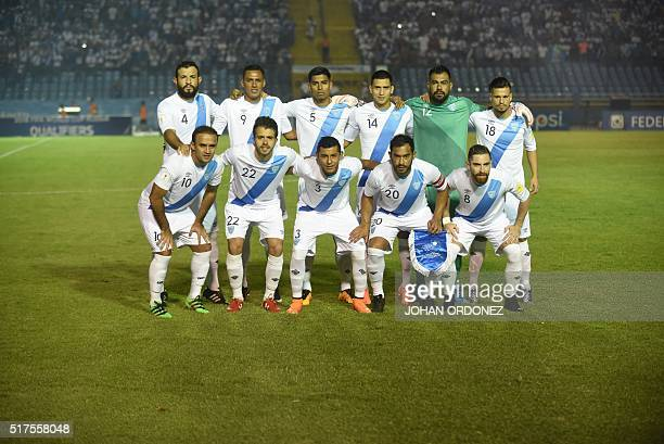 Guatemalan team poses before the match against the United States in Guatemala City on March 25 2016 ahead of North and Central America qualifiers...