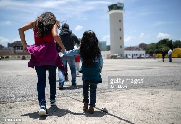 Guatemalan youth arrive on an ICE deportation flight from Brownsville, Texas on August 29, 2019 to Guatemala City. Under a new policy, ICE has...