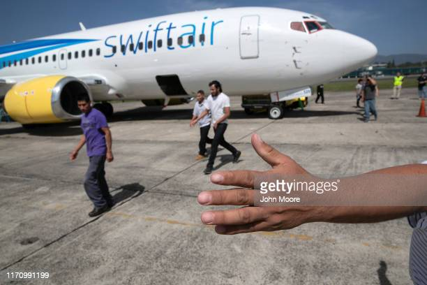 Guatemalans arrive on an ICE deportation flight from Brownsville, Texas on August 29, 2019 to Guatemala City. Under a new policy, ICE has expedited...