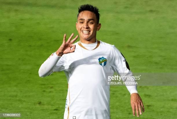 Guatemala's Comunicaciones Oscar Santis celebrates after scoring against Costa Rica's Saprissa during their Concacaf Champions league quarter-final...