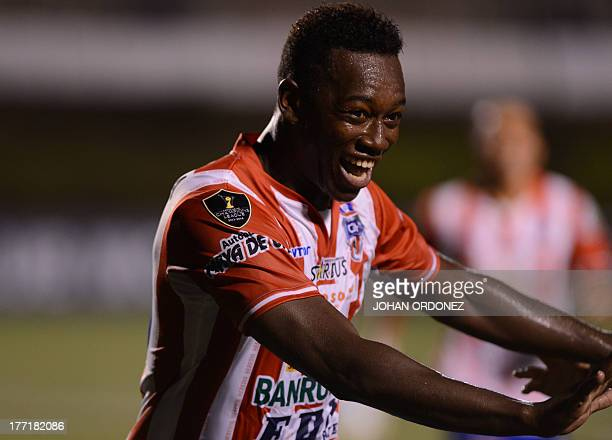 Guatemala's Heredia's Charles Cordova celebrates after scoring against Canadian's Montreal during their Concacaf Champions League soccer match at...