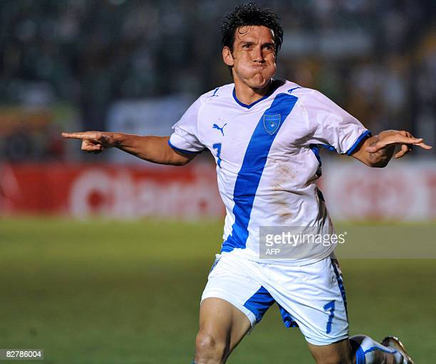 Guatemala's Mario Rodriguez celebrates after scoring against Cuba during their FIFA World Cup South Africa2010 qualifier football match at the Mateo...