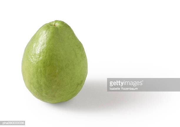 guava, white background - guava fruit stock photos and pictures