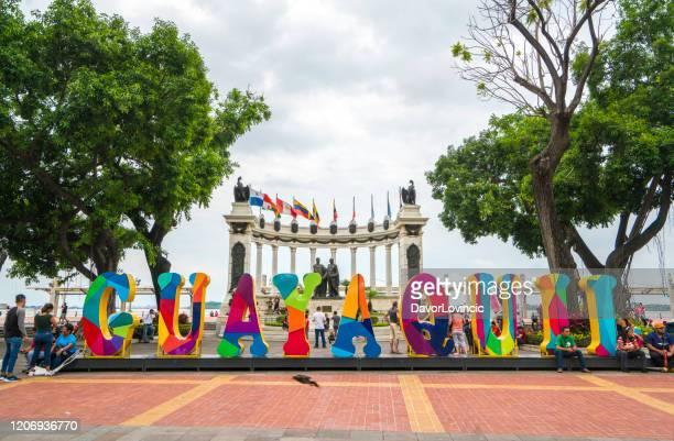 monumento a guayaquil y la rotonda en ecuator - guayaquil fotografías e imágenes de stock