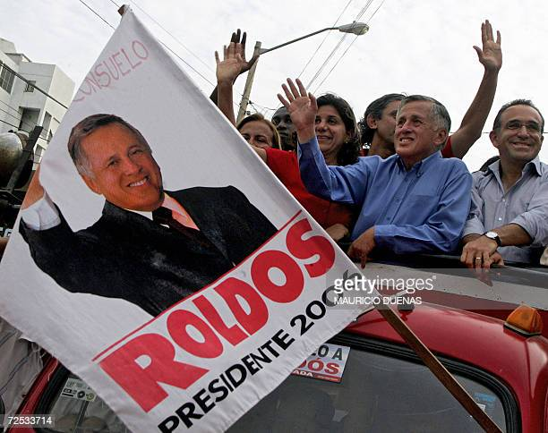 Presidential candidate Leon Roldos waves at his supporters on the campaigns' closing day 12 October in Guayaquil Guayas Province Ecuador According to...