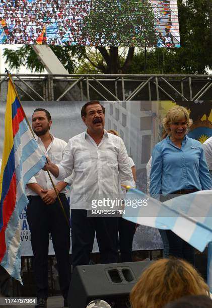 Guayaquil Mayor Cynthia Viteri and former mayor Jaime Nebot take part in a march for peace against a fuel price hike ordered by the government to...