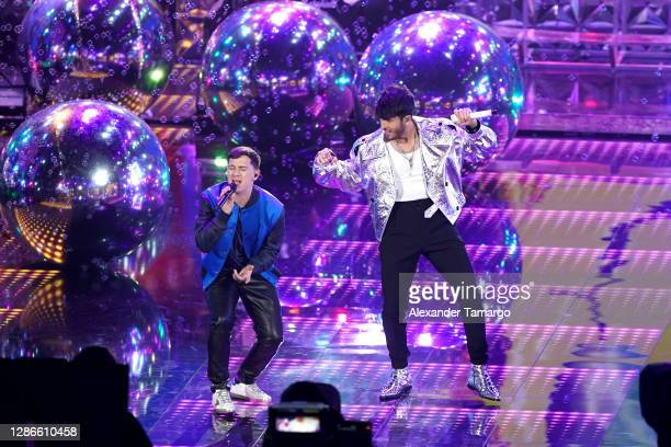 Guaynaa and Sebastián Yatra perform onstage during The 21st Annual Latin GRAMMY Awards at American Airlines Arena on November 19, 2020 in Miami,...