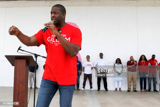Gubernatorial candidate Andrew Gillum addresses the crowd of educators as Democrats running for the US Senate Florida governor and attorney general...