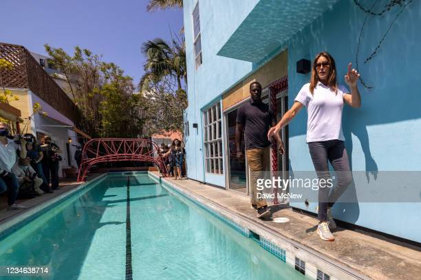 Gubernatorial candidate Caitlyn Jenner exits after talking to reporters about homeless issues as she campaigns to overthrow California Gov. Gavin...