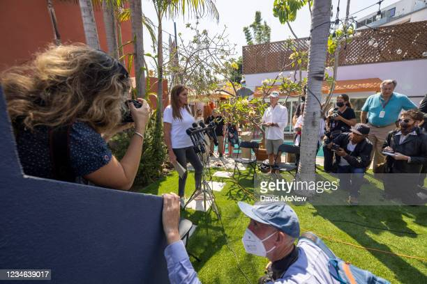 Gubernatorial candidate Caitlyn Jenner talks to reporters about homeless issues as she campaigns to overthrow California Gov. Gavin Newsom in an...