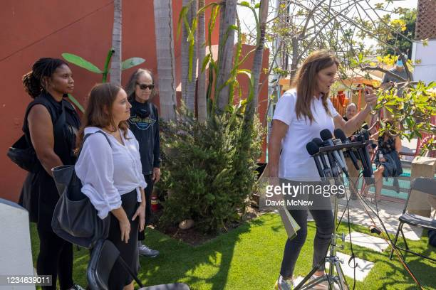 Gubernatorial candidate Caitlyn Jenner talks to reporters next to community members Chie Lunn , Soledad Ursua and Patrick Liberty about homeless...